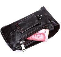Wholesale Leather Belt Loops - wholesale new Retro Oil Wax Genuine Leather Men Waist bag Fanny Pack Belt Loops Hip Bum Bag Wallet Purses Phone Pouch for men