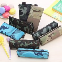 Wholesale camouflage pencil case - Children Pencil Case Stationery Bag Camouflage Canvas Student Pencil Bags High-capacity Kids School Supplies Gifts Free DHL 205