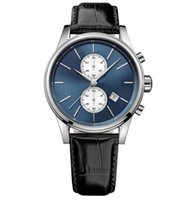 Wholesale Herren Uhr - 2017 Herren Jet Serie Schwarz Lederarmband Chronograph Uhr 1513283
