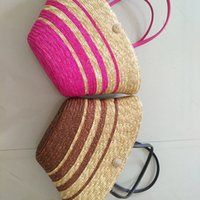 Wholesale Beach Bags Natural - New beach bag fashion handbags woven straw bag natural handbag stripes design Single shoulder woman package free shipping