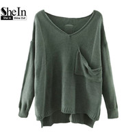 Wholesale Dip Hem - Wholesale-SheIn Casual Pullovers For Women Autumn Ladies V Neck Drop Shoulder Long Sleeve Dip Hem Loose Sweater With Pocket
