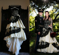 Wholesale Taffeta Puffy Wedding Dress - Vintage White and Black Wedding Dresses Gothic Ball Gowns Puffy Taffeta Tiered Lace Appliqued Plus Size Custom Bridal Gowns 2017 Cheap