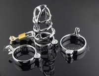 mejores cinturones de castidad masculina al por mayor-Nueva Cómoda chaleco de pene de acero inoxidable jaula del pene anillo de pene masculino de metal CB3000 correa de castidad juguetes sexuales para hombres