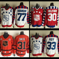Wholesale Billy Smith - All star hockey jerseys #77 Ray Bourque jersey #33 Patrick Roy #30 Ed Belfour #31 Billy Smith 75TH Throwback nhl Hockey jerseys ships free
