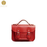 "Wholesale British Vintage Leather Bag - Wholesale- 8.5"" MINI BRITISH REAL GENUINE LEATHER SATCHEL BAG - Women's Brown Vintage Classic Crossbody Messenger Bolsa Mensajero Handbag"