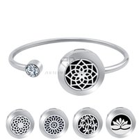 Wholesale Magnet Lockets - 20mm Lotus Magnet Can Wiggle Up and Down Aroma Locket Stainless Steel Bangle Essential Oils Diffuser Locket Bracelet (Dropship)