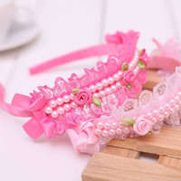 Vente en gros- Cute Novelty Girls Pearl Hair Bands Princess Series Lace Flower Headband Kids Ribbon Bow Accessoires pour cheveux Hair Hoop