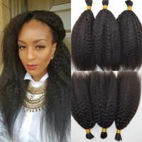 Wholesale Cheap Bulk Brazilian Hair - Cheap Human Braiding Hair Bulk No Weft Brazilian Human Hair Kinky Straight Natural Hair Bundles for Braiding G-EASY