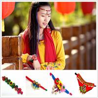 venda de tornozeleiras venda por atacado-Atacado-Hot venda Moda Meninas pulseiras multi cores étnicas pulseiras bordados pulseira jóias pulseira tornozeleira A0638