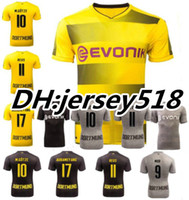 Wholesale Dortmund Football Shirt - THAI QUALITY 17 18 Dortmund home yellow jersey 2017 2018 AUBAMEYANG GOTZE DEMBELE PULISIC REUS MOR SAHIN away 3RD football shirts