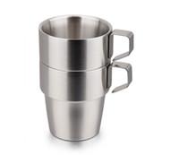 шоколадная кружка оптовых-Двойной слой из нержавеющей стали пиво кофейные чашки чай молоко кружки 300 мл 6 шт. костюм с металлической рамкой DHL Бесплатная доставка
