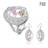 Wholesale Top Gemstone Earrings - Top women's gemstone sterling silver plated jewelry sets,fashion 925 silver wedding jewelry set same price mix style GTS46