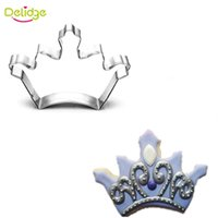 Delidge 20 pc forma de la corona molde de la galleta de acero inoxidable Corona de diamantes cortador de la galleta Fondant Cake Decorating Bakry anillo de la mousse