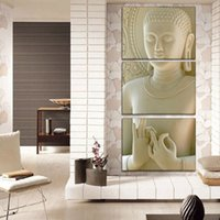 Wholesale Modern Buddha Oil Painting - 3 Panel Modern Buddha Painting Art White Marble Buddha Vertical Forms Canvas Print Decorative Figure Picture Modern Wall Art Paintings