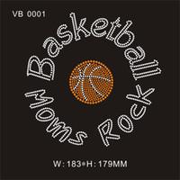 strass de fer orange achat en gros de-Basketball Moms Rock Orange / cristal clair sport personnalisé fer de transfert de fausse pierre sur vêtement 25piece / bag