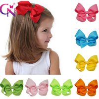 Wholesale Hair Clips Little Girl Ribbon - 4 Inch Hair Bow On Alligator Clip Solid Color Grosgrain Ribbon Little Girls Hair Bow One Tail