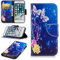 Wholesale Butterfly Pouch Iphone - Flower Butterfly Leather Wallet Case For Iphone 7 6 6S Plus 5 5S SE MOTO G5 G5 Plus G6 Fashion Panda Owl Pouch Stand Flip Phone Cover 150pcs