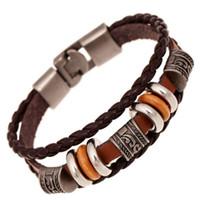gewebte lederarmbänder perlen großhandel-Vintage Perlen Armband Handmade Woven Elegante Braune Leder Armbänder Armreifen für Frauen Männer Schmuck Mode-Accessoire