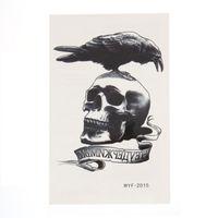 tatuajes temporales para brazos de hombres. al por mayor-Dark Eagle Crow Cráneo Esqueleto Temporal Tatuaje Pegatinas Mujeres Hombres Body Art Tattoo Pasta Fake Negro Impermeable Tatuaje Brazo Arte