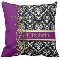"Wholesale Damask Cushion Covers - Throw Pillow Case, Black white damask pattern gold floral border Square Sofa and Car Cushions Cover, ""16inch 18inch 20inch"", Pack of X"