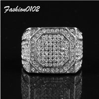 Wholesale Square Crystal Rings - Men's Stainless Steel Ring Square Iced Out Bling Bling Rhinestone Crystal Silver Gold Color Punk Rings Fashion Hip Hop Jewelry