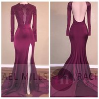 Sheer lange Ärmel Spitze Appliques Backless Meerjungfrau Prom Kleider 2017 Vogue Perlen Sequins High Side Slits Abendkleider Formal Party Gown