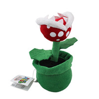 Wholesale Mario Puppets - Wholesale- Super Mario Piranha Plant Plush 8inch Soft Kid Doll - New Character Soft Toy 8in