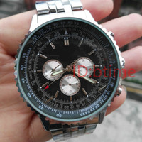 мужские нержавеющие часы оптовых-Часы механические мужские navitimer A35340 черный циферблат из нержавеющей стали автоматические мужские часы для погружения Relogio Masculino наручные часы