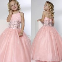 Wholesale Kids Dresses Cheap Prices - Kids Formal Wear Floor Length Crystals Sparked One Shoulder Neck Sleeveless Custom Made Prom Dresses Ball Gown Simple Design Cheap Price