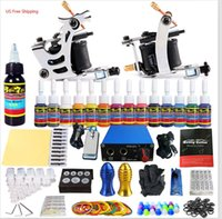 Wholesale Tattoo Gun Tips Free Shipping - US Free Shipping Solong Tattoo Kit 2 Machines Guns 14 Colors Pigments Power Box Needles Grips Tips Tubes TK213