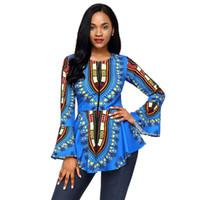 Wholesale Top Peplum Polyester - New women's Blue African Tribal Print Zip Front Peplum Jacket Blazer Office Wear Party Wear Club Wear T-Shirt Women TOP