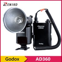Wholesale Godox Battery Pack - Wholesale-Pro Godox Witstro AD-360 Powerful Portable Flash Speedlite Outdoor Flash Light kit With PB960 Power Battery Pack Black Kit
