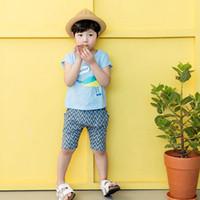 Wholesale Kids Korean Tracksuit - Summer Boys Clothin Sets Korean Bird Short Sleeve Tee Shirt Tops + Ruched Shorts Cute Cartoon Cotton Kids Outdoor Fun Tracksuit C985