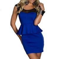 Wholesale China Night Clubs - Cheap Clothes China Chest Soft Gauze Mesh Blue OL Peplum Sexy Clubwear Plus Size Dress Women Dresses