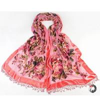 Wholesale Chinese Silk Velvet - Novelty New Chinese Women's Velvet Silk Handmade Beaded Embroider Flower Scarves Shawl Scarf Wrap Long Fringle Pashmina 011205