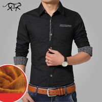 Wholesale Thick Warm Winter Mens Shirts - Wholesale- Brand Autumn&Winter Casual Men Shirt Warm Mens Dress Shirt Thick Male Formal Shirts Plus Size Long sleeve Homme Plus Size 5XL