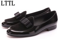 Wholesale Newest Luxurious Wedding Dress - Newest Leather and Suede Stitching With Bowtie Men Handmade Shoes Luxurious Flats Men's Banquet Party Loafers Shoes