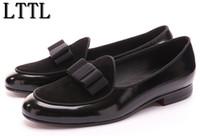kravat partisi ayakkabıları toptan satış-Yeni Deri ve Süet Papyon Erkekler El Yapımı Ayakkabı Ile Dikiş Lüks Flats erkek Ziyafet Parti Loafer'lar Ayakkabı