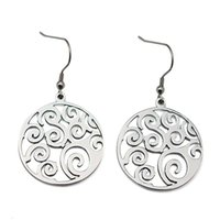 Wholesale Stainless Steel Carved Earring - earrings carved classic vintage dangle drop earring round shape Round Drop Earrings Female Big Long Earrings For Women Non allergic jewelry