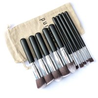 Wholesale free beauty bag - Super Deal !!! Rosalind 10 Pcs Professional Makeup Brushes Set Makeup Brushes Kit Free Draw String Make Up Bag Beauty Tool