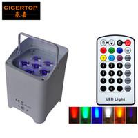led aydınlatma toptan satış-Tiptop kablosuz akülü taşınabilir uplights 6 6 w 6in1 led par ışık RGBWA + UV İnce Par Düğün Dekorasyon Için IRC Ile Olabilir