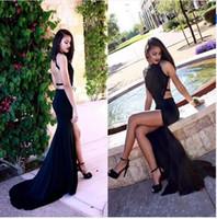 ingrosso vestito da promenade nero tagliato-2017 Sexy Backless Mermaid Prom Dresses Black Applique Busto di pizzo Cut Out Side abiti da sera lunghi del partito africano