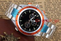 Wholesale Luxury Mens Leather Bracelets - Hot selling Luxury New Dive Automatic Mechanical Mens Sports Stainless steel Bracelet Orange Bezel Black Rubber Watches James Bond 007 Style
