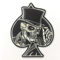 Wholesale Skull Iron Embroidered Patch - Quality Spades Top Hat Skull Embroidered Iron On Patch Motorcycle Biker Club MC Front Jacket Vest Patch Detailed Embroidery Free Shipping
