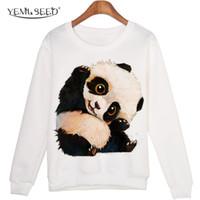 camisolas de panda hoodies venda por atacado-Atacado- animal bonito camisola sudaderas mujer Panda Impresso Harajuku Hoodies kwaii Moleton capuz WMH29