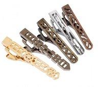 krawatte clip stahl großhandel-Mens Mix Metall farbigen Edelstahl ausgeschnittenen Muster Krawatte Bar Clips 5pcs / set