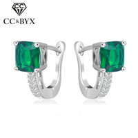 Wholesale Earring Clips Vintage - Wholesale Jewelry 925 Sterling Silver Vintage Clip Earrings For Women Green Cubic Zircon Diamant Fashion Wedding Party Gift CCE129