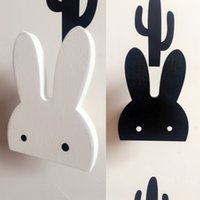 Wholesale 3d Wooden Animal Stickers - Rabbit Hook Bunny Wall Stickers Decor Baby Living Room Black White Decal Fashion Kids 3D European Style Decorations New