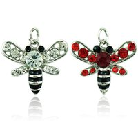 JINGLANG Fashion Bee Charms Dangle 2 Color Rhinestone Enamel Animal Pendentifs DIY Charms pour bijoux Accessoires