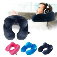Wholesale U Shaped Airplane Pillow - U-Shape Travel Pillow for Airplane Inflatable Neck Pillow Travel Accessories Comfortable Pillows for Sleep Home Textile 3 Colors